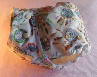 SassyCloth one size pocket diaper with dream catchers cotton print. Ready to ship.