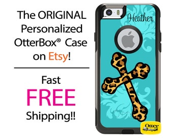 iPhone OtterBox Commuter Case for iPhone 7, 7 Plus, 6/6s, 6 Plus/6s Plus, 5/5s/SE, 5c Galaxy S7 S6 S5 Note 5 Personalized Leopard Cross Case
