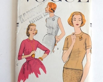 "Vintage 1957 Vogue Sewing Pattern 9273 - Misses' Blouses size 16;  36"" Bust"