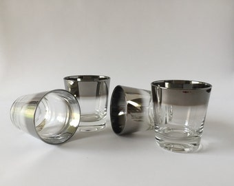 Silver Rim Glasses Tumblers, Mid Century Modern Barware, Rocks, Old Fashioned, Lowball, Set of Four (4)