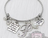 Mother of the Bride Bracelet -Today a Bride Tomorrow a Wife -Initial Bridal Jewelry-Expandable Bangle-Charm Bracelet, White, Mother of Bride