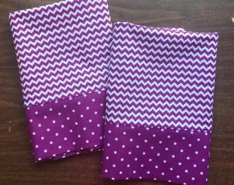 Purple and White Chevron Pillow Case  Set Standard/queen purple and white polka dot cuff