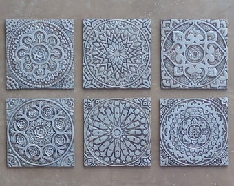 Outdoor Wall Art // Set Of 6 Tiles (various Designs) // Garden