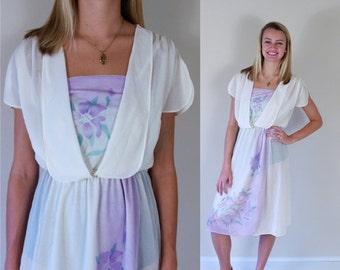 vtg 70s ivory AIRBRUSH FLORAL print Boho DRESS Medium sheer purple disco indie retro secretary