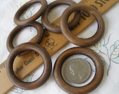 """45MM Wood O rings 30mm 1.25"""" opening walnut brown stain 1.75"""" 6 pieces Cafe Curtains purse strap macrame scarf round rings Cabone Ring"""