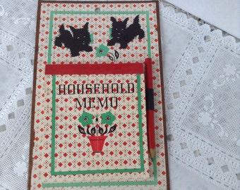 1950s 50s Scottie Dog Memo Pad / Vintage Wall Household Memo / List Reminder / Red White Kitchen