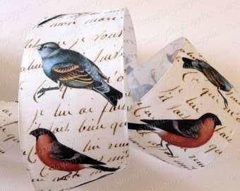 Natural Bird Ribbon, Script, Wide Wired Ribbon, Ivory and Gold, Red and Blue Birds, 2.5 in. wide, 2 Yard, Birds, Made in USA, Wreath Ribbon