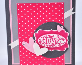 Valentine's Greeting Card, Love, Happy Valentine's Day, Hearts, Pink, Grey, Gray, White, Polka Dots, Flowers, Anniversary, Blank Inside
