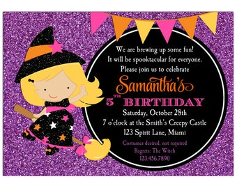 Halloween Witch Invitation Printable or Printed with FREE SHIPPING - ANY Hair Color/Skin Tone - Girl's Birthday - Witch Sparkle Delight