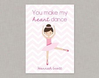 Ballerina Valentine Card, Ballet Classroom Valentine Card, Valentine's Day, Kids Valentine Cards, Kids Valentines