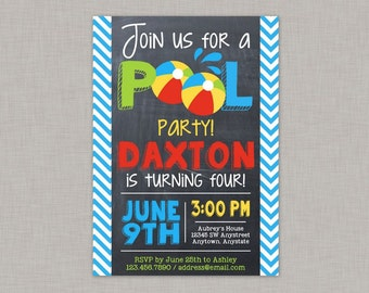 Pool Party Invitation, Pool Party Birthday Invitation, Pool Party, Chalkboard