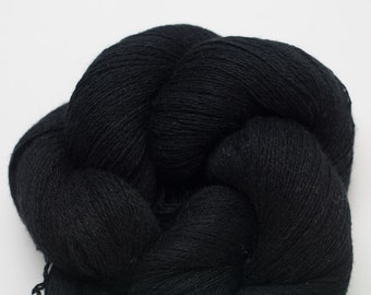 Night Sky Black Silk Cashmere Lace Weight Recycled Yarn