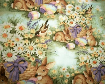 Easter Fabric, Susan Winget Fabric, By The Yard, Quilting Sewing Fabric, Spring Easter Basket Collection, Crafting Fabric, Rabbit Fabric