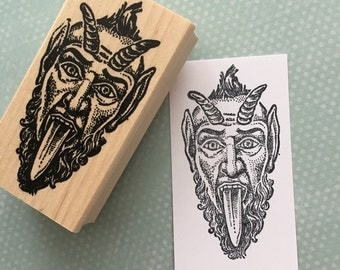Krampus Wood Mounted Rubber Stamp 4541