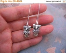 Clearance Owl Earrings - Antiqued Silver Owl Charm Earrings - Your Choice of Kidney Earwires or Hook Earwires