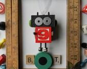 Robot Ornament - Christmas Ornament - Recycled Decor - Kids Decor by Jen Hardwick