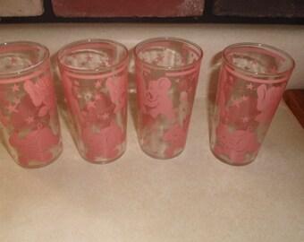 4 vintage hazel atlas pink dancing elephants tumbler cocktail barware 6 oz stars