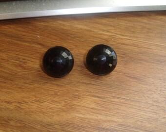 vintage clip on earrings black lucite beveled