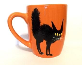 Black Cat Coffee Mug - Black Cat - Halloween Mug - Halloween Decorations - Halloween Cat -Funny Cat Gifts - Meow