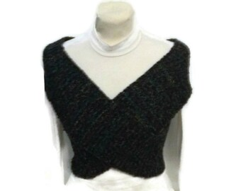 Black Cross Vest, Hand Knitted, Black With Multicolor Accents, Scarf, Neckwarmer Wrap, Capelet, Slimming Contouring Vest, Hand Made