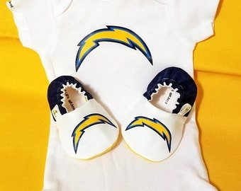 Chargers Baby Booties and Chargers Baby Onesie - Handmade