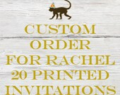 Reserved listing for Rachel for 20 printed Peter Cottontail Birthday Invitations with White Envelopes