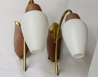 Pair of 1950s Sconces/ Wall Lights. Mauve. Pink-Brown Tulip. White Glass, Brass.