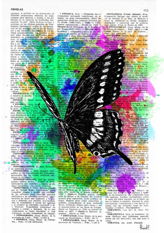 Watercolor collection Butterfly 04 Printed on Vintage Dictionary Book page. Wall decor, wall hanging butterfly BPBB07