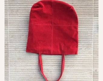 TOTE leather bag in crimson RED. Soft natural suede leather bag