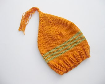 Cotton baby hat orange with green stripe hand knitted