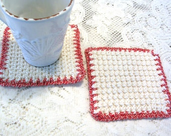 Square Modern Drink Coasters - Minimalist Decor Mug Rug - White Crochet Coasters - Cottage Style Decor - Rustic Decor