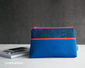 Small Blue Purse - Unique Gift for Architect - City Purse - Wristlet Wallet - Pencil Case - iPhone Purse - Organizer Pouch - Ready to Ship
