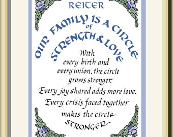 Family Circle, personalized; hand-lettered celebration of the Family Name