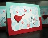 Merci Cards Set of 3, Handmade Thank You Cards Set