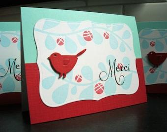 Merci Cards Set of 3, Handmade Thank You Cards Set, Bird Thank You Notes
