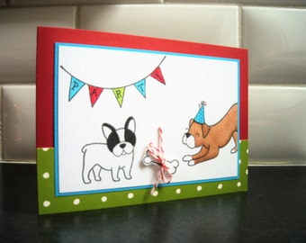 Dog Birthday Card, Boxer Card, French Bulldog Card, Dog Lover Card