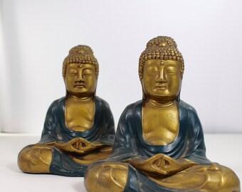Pair of Sitting Buddha Figures by Art Metal Works of NJ