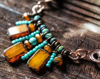 Indian beaded leather necklace , Tribal, forged copper, turquoise, picasso beads