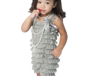 Vintage Childrens Lace Romper-Grey