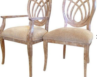 1990's Italian Design Trelli Back Set 6 Dining Chairs Whale Velvet Woven Seats
