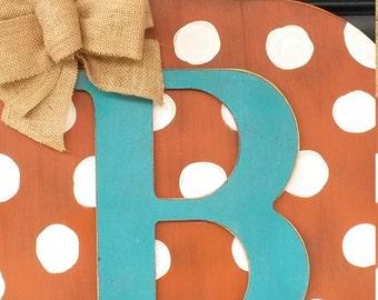 Fall door decor, Wood pumpkin door decor with intital, Fall door decor with monogram, Front door decor