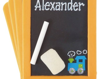SALE ** 4 Personalized CHALKBOARDS with 4 sets of chalk and eraser - Choo Choo Train Design