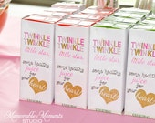 PRINTABLE JUICE BOX labels - Twinkle Twinkle Little Star Party - Pink and Gold Glitter - Memorable Moments Studio