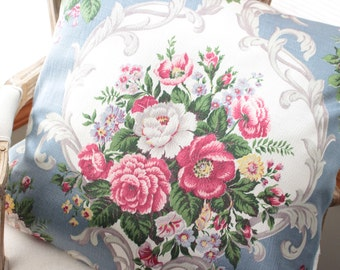 Vintage Scrolled English Cabbage Rose Floral Fabric Custom Decorative Pillow Shams