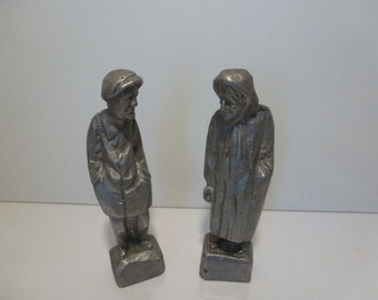 Vintage Metal Statues or Figurines 2 Vintage Metal Statues Man and Woman Statues