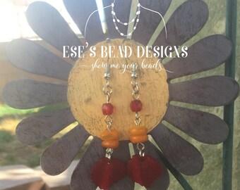 Orange Beech Leaf Earrings