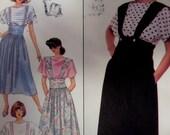 "1989 Full Wide Waistband Suspender Skirt Pattern Simplicity 9523 Miss 6-8-10-12 Hip to 36"". RETRO SUSPENDER SKIRT Pattern at WhiletheCatNaps"
