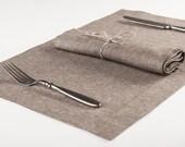 Brown linen place mats or napkins Set of six Linen cotton blend cloth napkin or placemat