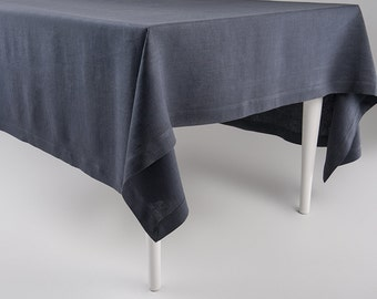 Charcoal tablecloth, Natural linen tablecloth, Custom tablecloth, Square or rectangle tablecloth