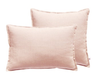 Dusty rose decorative cushion cover Linen Lumbar pillow cover or Square pillows